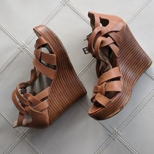 Tan Strappy Wedge Sandals